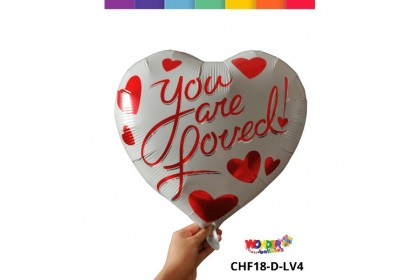 """18"""" Printed Heart Shape Foil Balloon """"I Love You"""" / """"You Are Loved"""""""