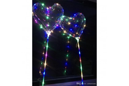 """18"""" Transparent Heart Shape Bubble Balloon with 3mColourful LED String"""